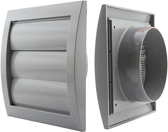 Jalousie - Rejilla de ventilación diámetro de 150 mm con láminas pesadas y rejilla antinsectos plástico ABS