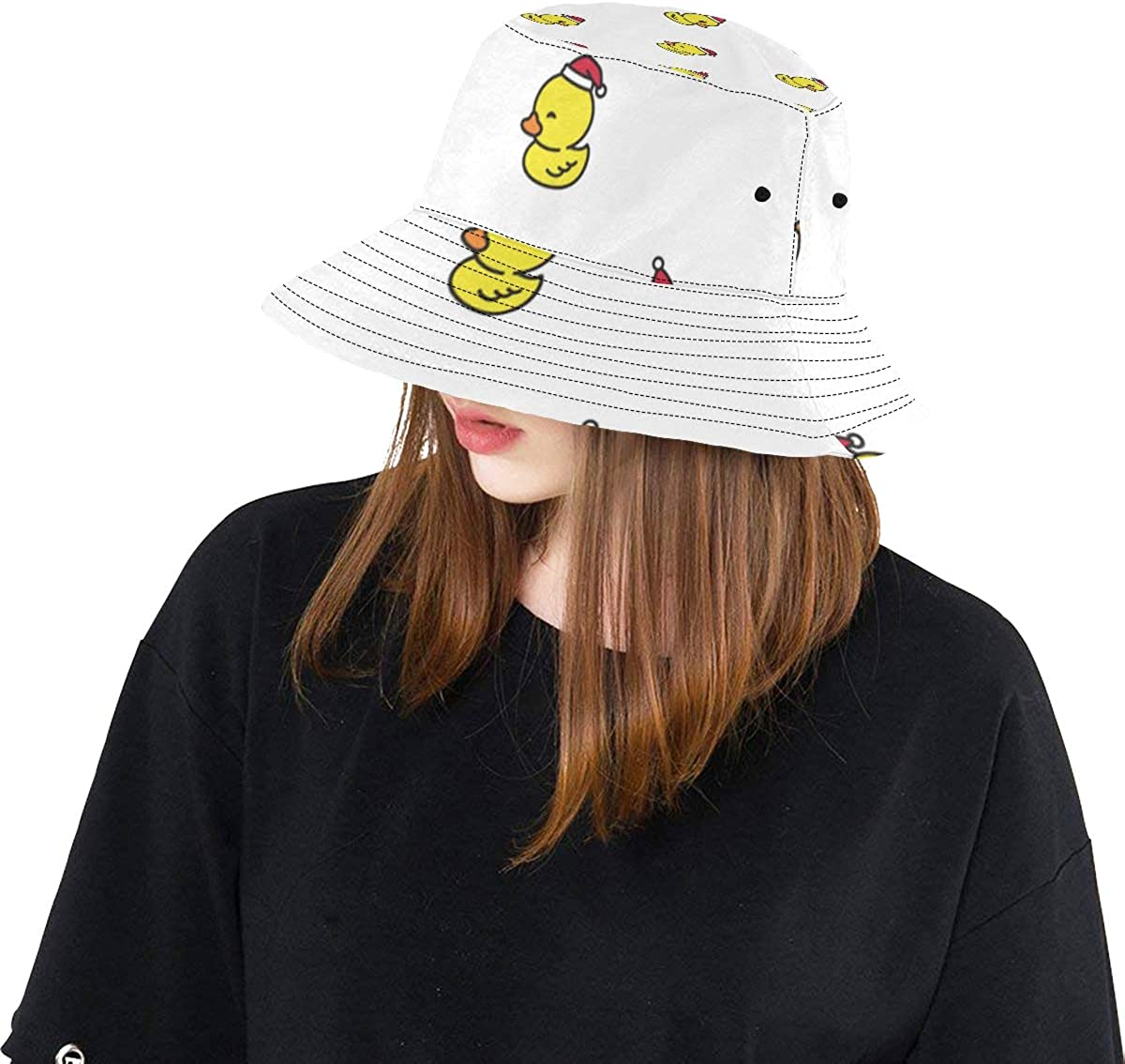 Duck Lovely Yellow Cute Everday Summer Unisex Fishing Sun Top Bucket Hats for Kid Teens Women and Men with Packable Fisherman Cap for Outdoor Baseball Sport Picnic