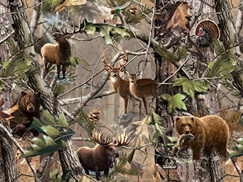 (Realtree Flannel Fabric Sold by The Yard-Real Tree Cotton Flannel Fabric-Realtree Camouflage Animals Flannel)