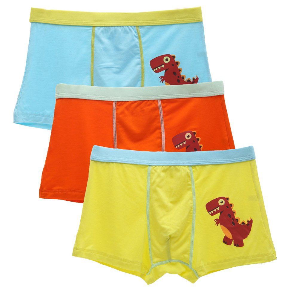 2-8 Years Old Boys Dinosaur Boxer Briefs Candy Color Animal Underwear 3 Multipack