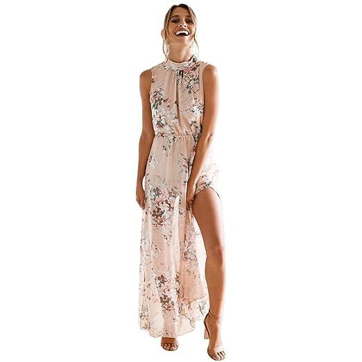 0a050be944a35 Qisc Womens Dress Women s Chic Sleeveless Backless Halter Neck Floral Print  Split Long Maxi Dress (