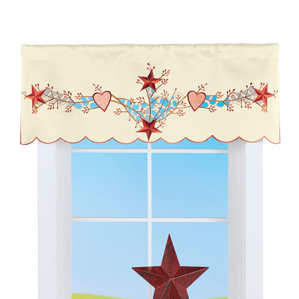 Collections Etc Beautiful Country Star Cutout Window Valance - Rustic Décor for Bedroom or Any Room in Home