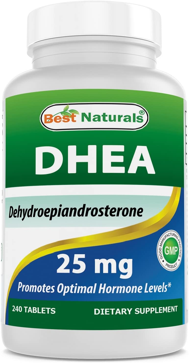 Best Naturals DHEA 25mg Supplement 240 Tablets – Supports Balanced Hormone Levels for Men Women – Promotes Healthy Aging – USA Manufactured