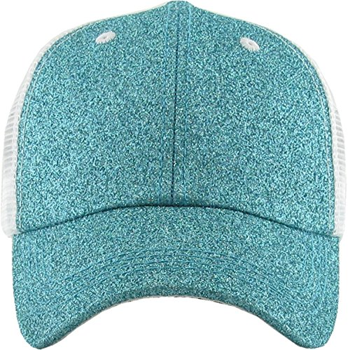 ef58f5844c Funky Junque H-216-GM54 Pony Cap - Glitter - Mesh Aqua available in ...