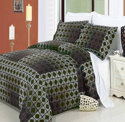 Luxury 3PC King/Calking Printed Checkered Dark Forest Green West Elm Duvet Cover Set, 300 Thread Count 100 % Egyptian Cotton fiber reactive prints with matching pillow shams