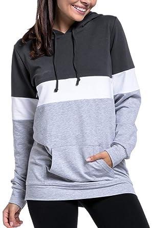 4581c016b786c JOKHOO Womens Nursing Hoodie Breastfeeding Sweatshirt Top Maternity (B Dark  Grey, S)