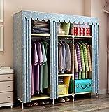 GL&G Portable Clothes Closet Non-woven Fabric Wardrobe Double Rod Storage Organizer Bedroom Wardrobes Clothing & Wardrobe Storage Foldable Closets,gray,70''59''