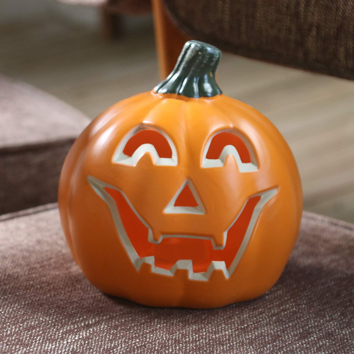 Round Lightened Pumpkin for Porch Front Door 10 Fireplace Decorations Jack O Lantern Decorations for Halloween Party GameXcel Halloween Pumpkin JackoLantern