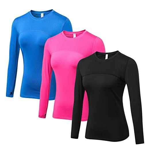 WANAYOU Women s Compression Tops Performance Athletic Long Sleeve Shirt  Moisture Wicking Workout T-Shirt Tops 7c7e43f79