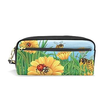 Eslifey Ladybugs con girasoles bolsa portátil de piel ...