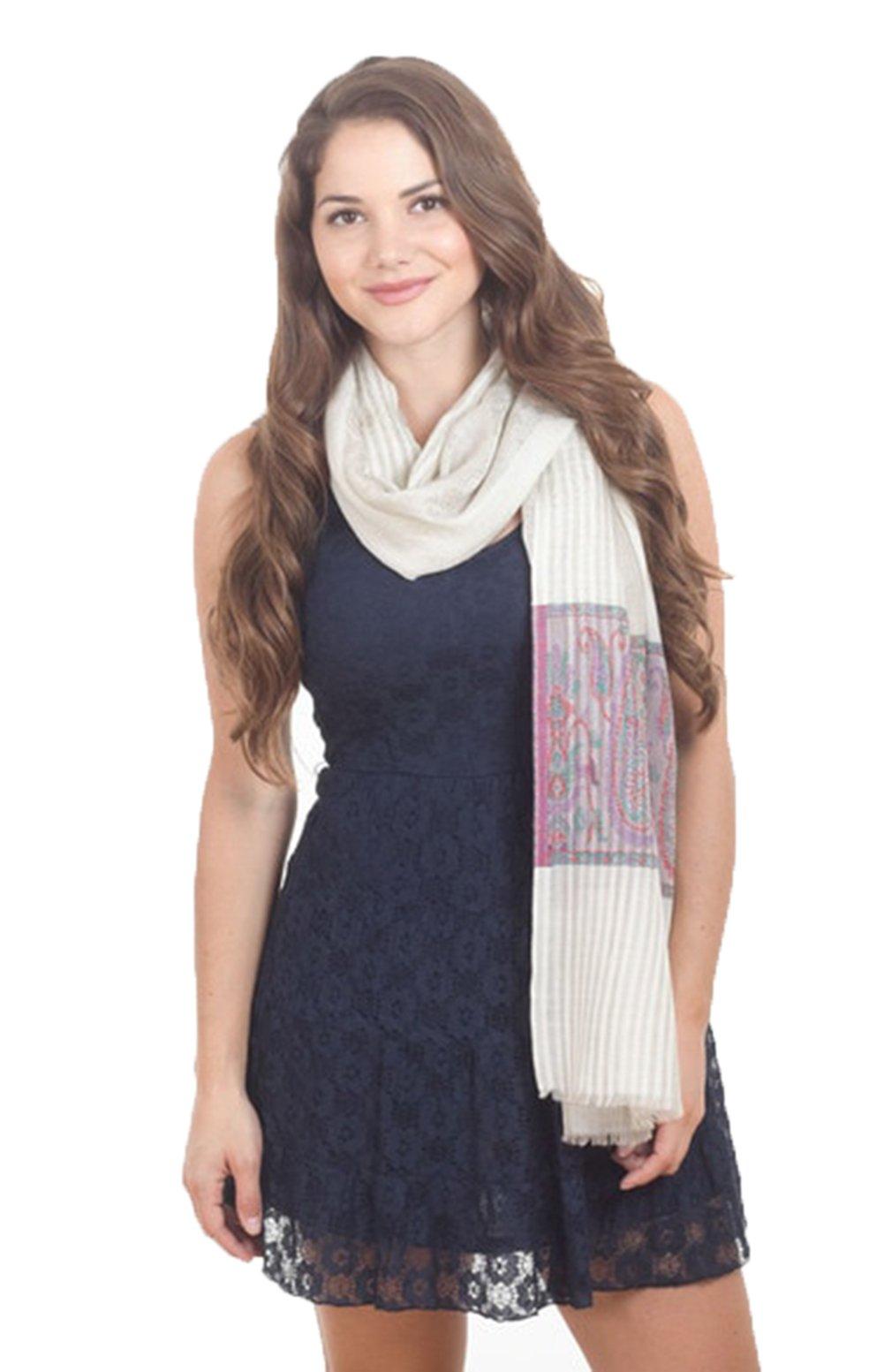 StylesILove Lightweight Fine Wool Vintage Print Shawl - 28'' x 80'' (100% Wool) (Plum)