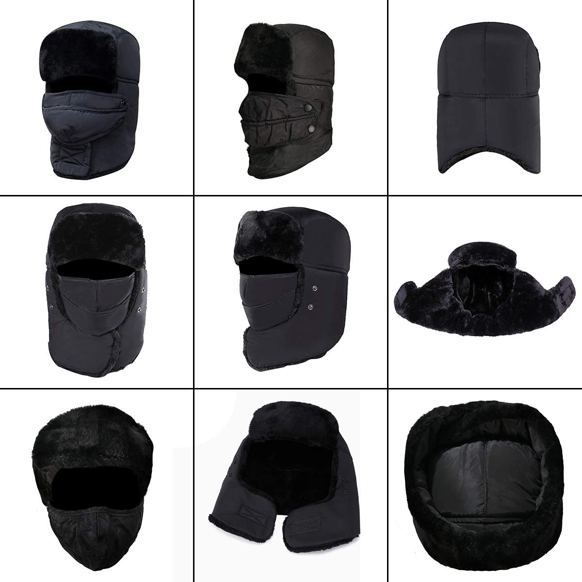 EunSung Winter Unisex Trapper hat for Mens and Womens,Hunting Trooper Hats Skiing Windproof Mask with Ear Flaps Keep Warm