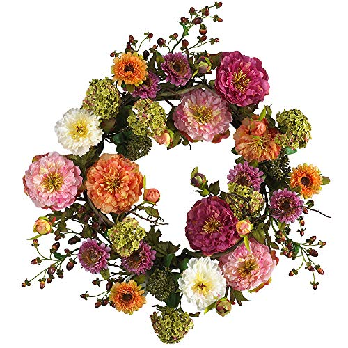 (Nearly Natural 24in. Peony Wreath, 24 inches round, Mixed)