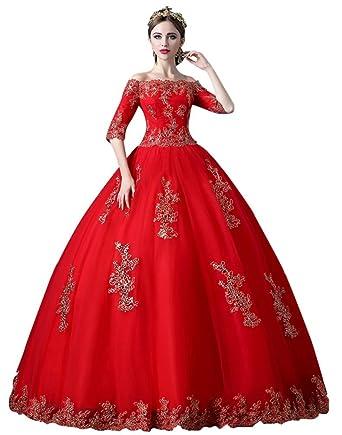 d61604b8cc6f0 Beauty-Emily Ball Gown Vintage Princess Women's Lace Satin Lace-Up Elegant  Formal Wedding