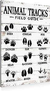 BEASTZHENG Animal Tracks Field Guide Sign Metal Tin Sign Wall Art Decor Farmhouse Home Rustic Decor Gifts - 8x12 Inch