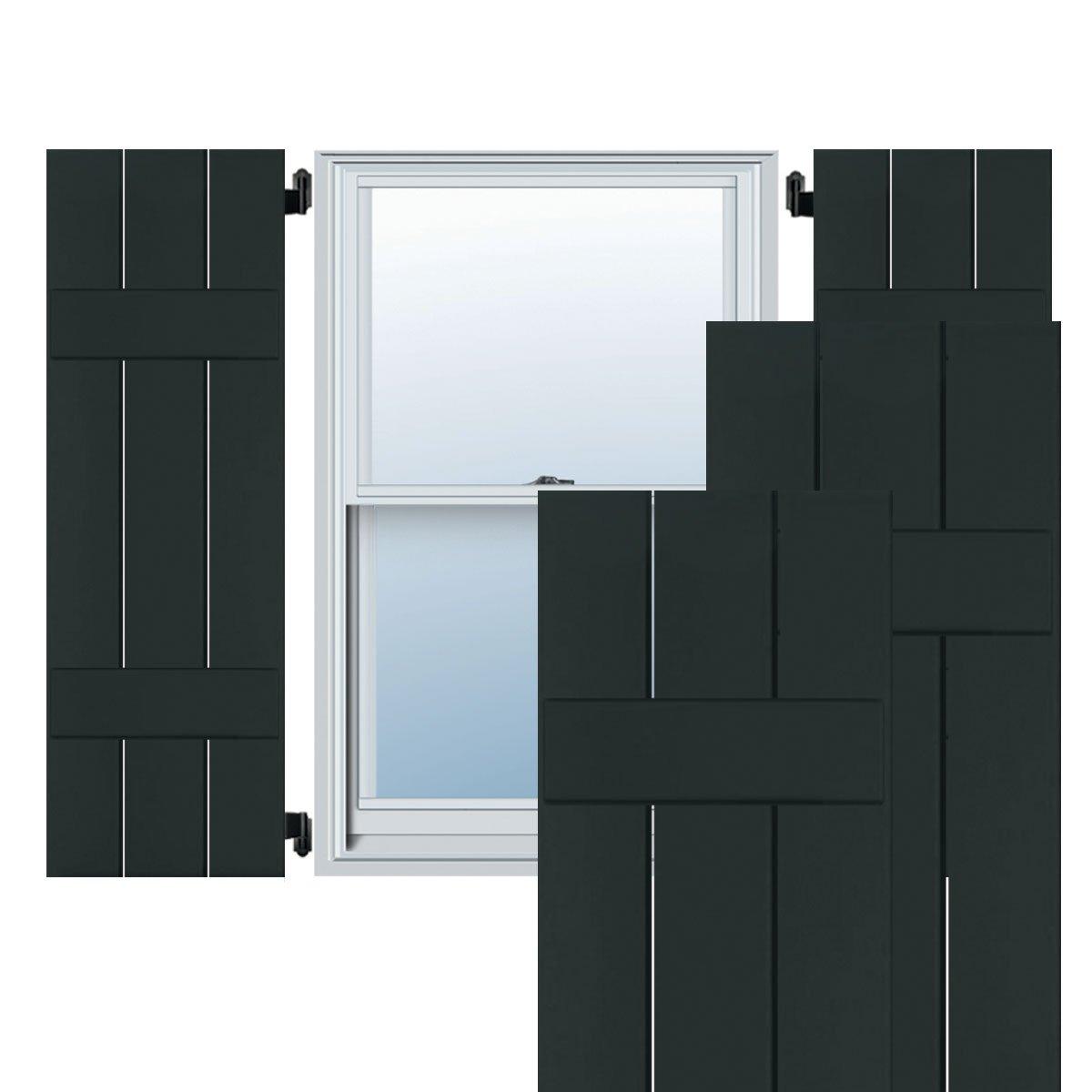 Dark Green 10 1//2W x 32 3//4H 10 1//2W x 32 3//4H Per Pair Ekena Millwork EB0110500X032750PDG Exterior Pine Three Board Two Batten Board-n-Batten Shutters