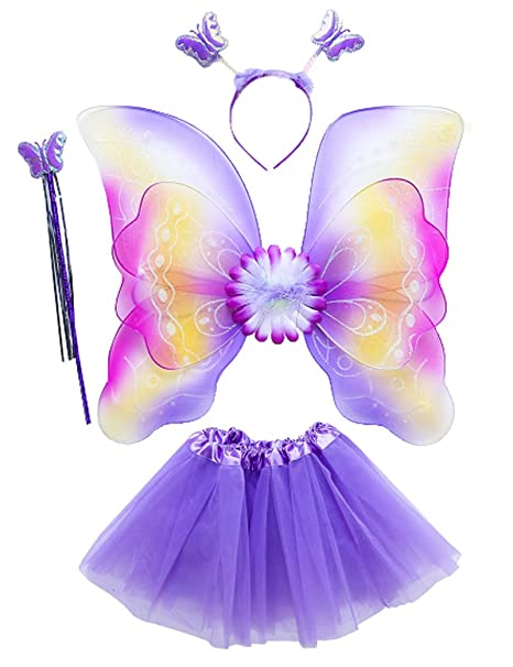 39ae90bba5897 Lujuny Kid Fairy Wing Costume Set - Butterfly Wings Tutu Dress Magic Wand  and Headband (