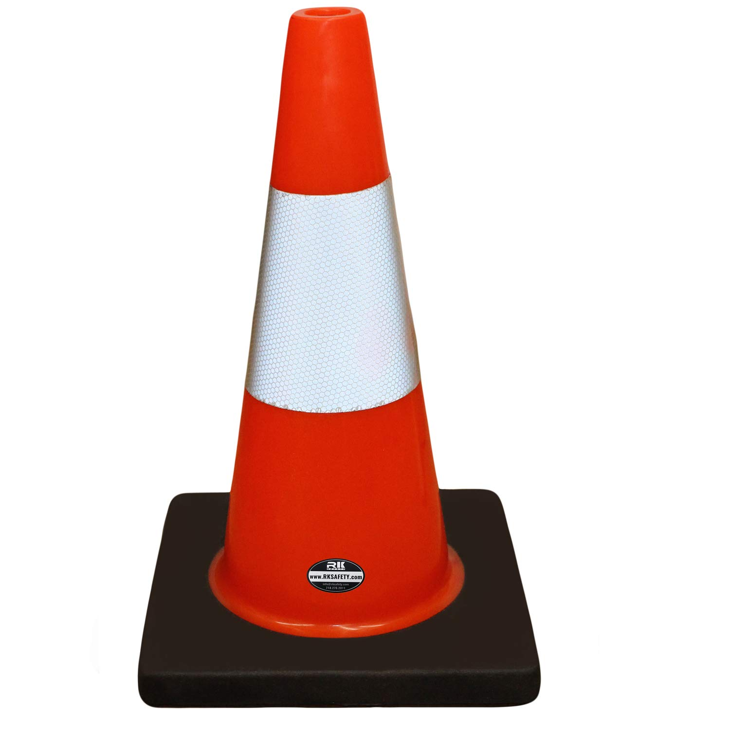 (Set of 12) 18'' Rk Orange Safety Traffic PVC Cones, Black Base, with One Reflective Collar