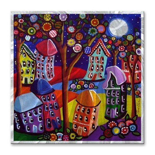 - Landscape Painting Metal Wall Sculpture Art Fun Funky Houses Trees and Blossoms
