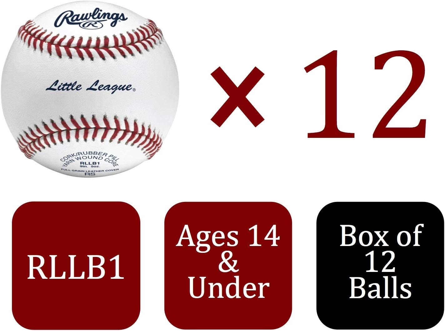 Une douzaine de Rawlings Little League competition grade Youth Leather Baseball RLLB 1
