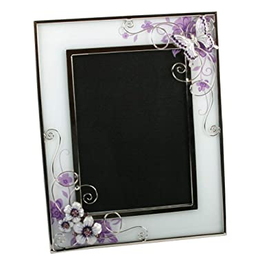 Beautiful Purple Glass 5  x 7  Photo Frame with Flowers and Butterflies By Haysom Interiors