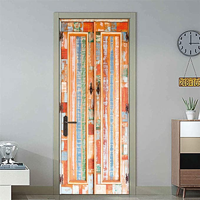 XCCQZS Papel pintado de la puerta PVC Autoadhesivo Puerta de madera vintage 90X200CM 3D Arte Cartel de la puerta Foto Apliques Vinilo Etiqueta de la puerta Niño Caricatura Habitacion Inicio Dormitorio: Amazon.es:
