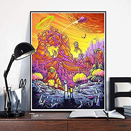 Wall Art Decor Poster Artworks Rick And Morty Season 3 Silk Poster Immagine per parete Pittura Colorful Silk Cloth Home Art