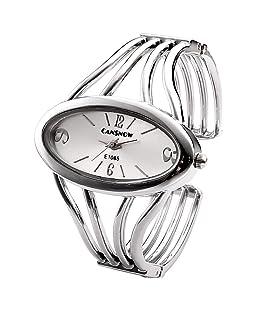 Top Plaza Women Elegant Oval Silver Tone Bangle Cuff Bracelet Dress Watch