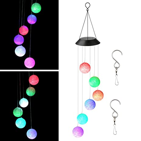 accmor solar light wind spinner chimescolor changing led ball wind chimes waterproof outdoor