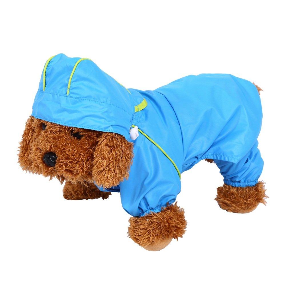 Manteau Imperméable Veste De Pluie Étanche 6 Tailles Avec Capuche Protection Vêtements Pour Chien Chiot Animal ( Taille : L ) Yosoo