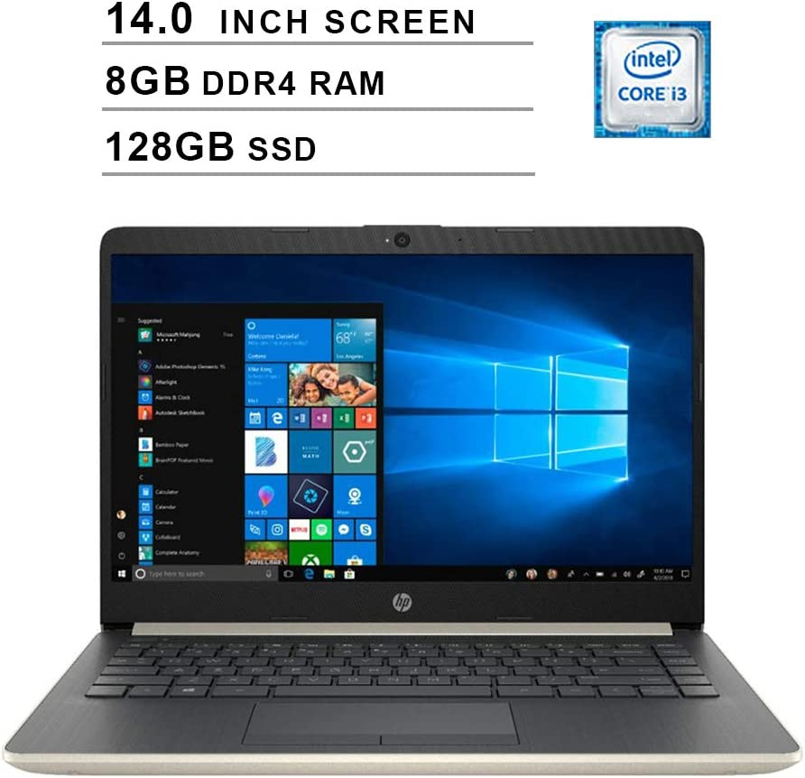 2019 Newest HP Premium 14 Inch Laptop (Intel Core i3-7100U, Dual Cores, 8GB DDR4 RAM, 128GB SSD, WiFi, Bluetooth, HDMI, Windows 10 Home) (Ash Silver)