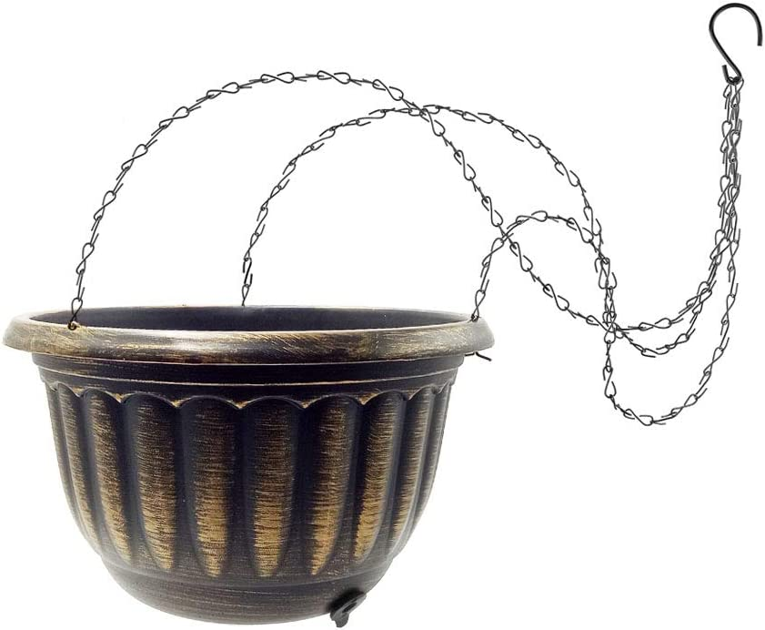 Hanging Planter Flower Plant Pot - 8 Inch Indoor Outdoor Copper Coated Hanging Basket with Watering Drainage Plug Metal Chain Hook for Balcony Patio Plant Nursery Garden Home Decorative Collection