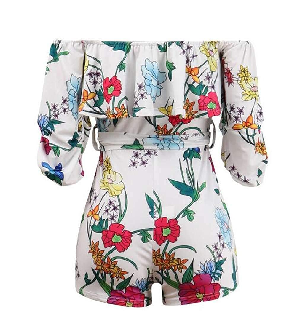 pipigo Womens Print Party Casual Ruffle Off The Shoulder Belted Short Rompers
