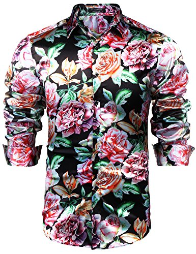 COOFANDY Mens Hipster Floral Button Down Shirt Glossy Hip Hop Shirts Nightclub Wear ,Black ,Small