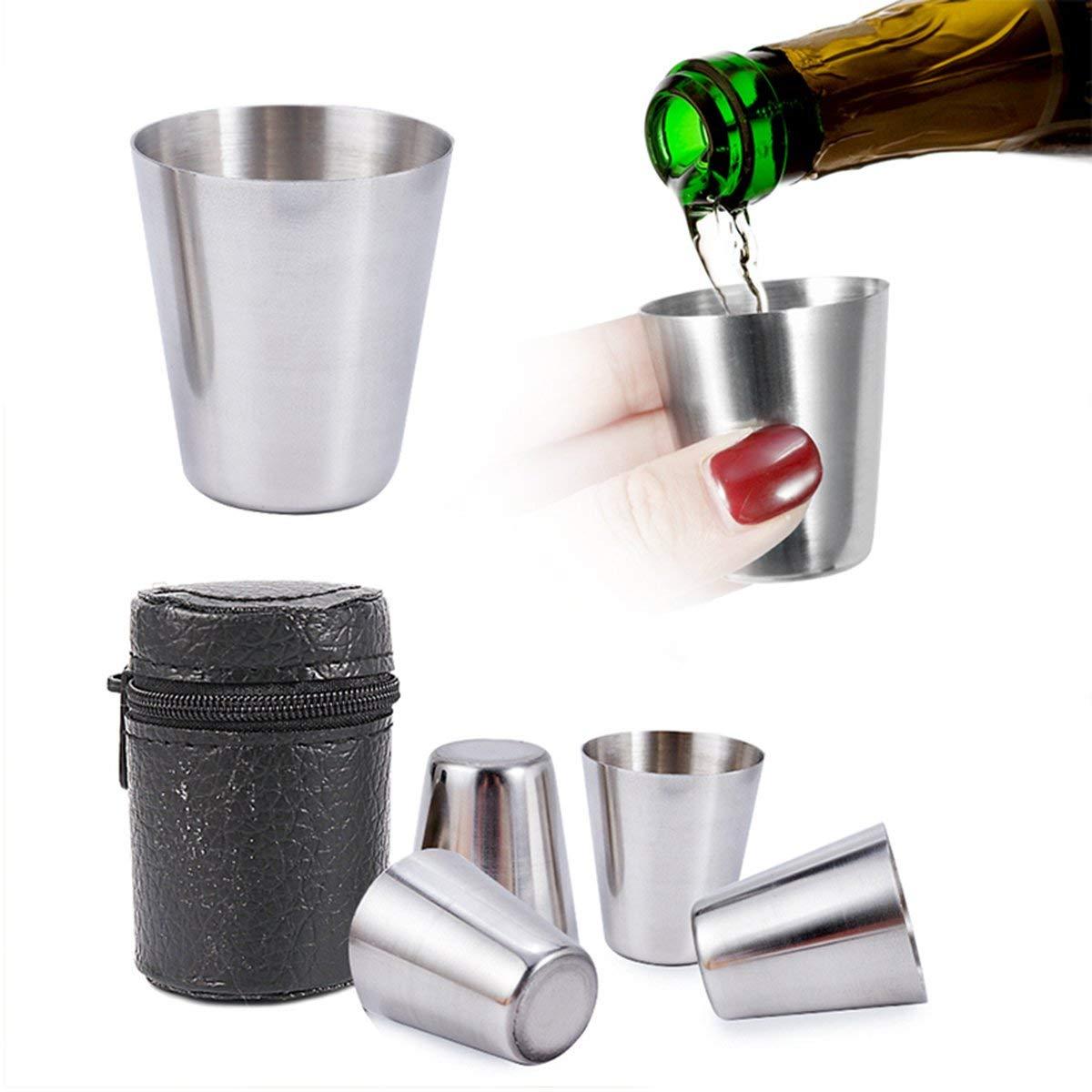 Gugutogo 4 Piezas//Juego Mini vaso de chupito de 30 ml pulido Vaso de acero inoxidable Vasos para beber con bolsa de cuero