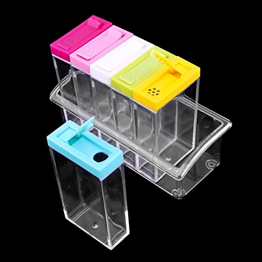 Amazon.com   eDealMax plástico Domésticos de Cocina Condimento Sal de la especia condimento contenedor de almacenamiento Box Set colorido: Condiment Pots