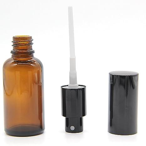 One Trillion 30ml(1oz) Cristal ámbar botellas con atomizador negro - para aceites esenciales/aromaterapia-(6 PCS): Amazon.es: Salud y cuidado personal