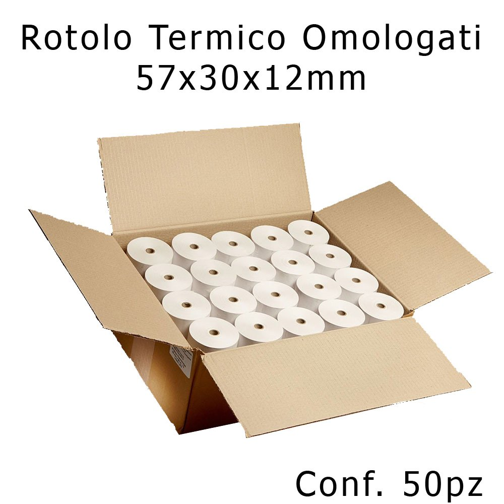 Confezione 50 Rotoli Termici mm 57x30 mt Omologati per Registratore di Cassa Carta Termica 1^ Qualit/à