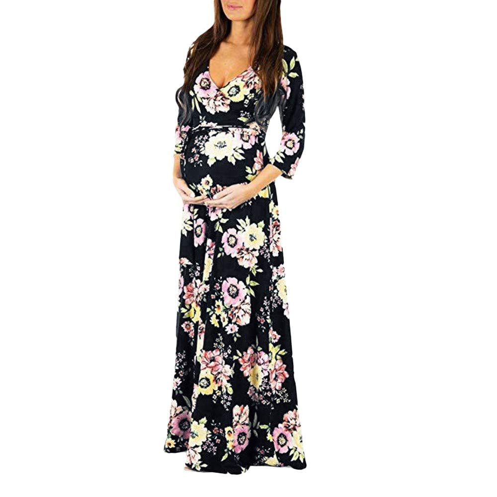 Women's Wraped V Neck Floral Maternity Maxi Dress 3/4 Sleeve Nursing Breastfeeding Pregnancy Long Dress with Belt