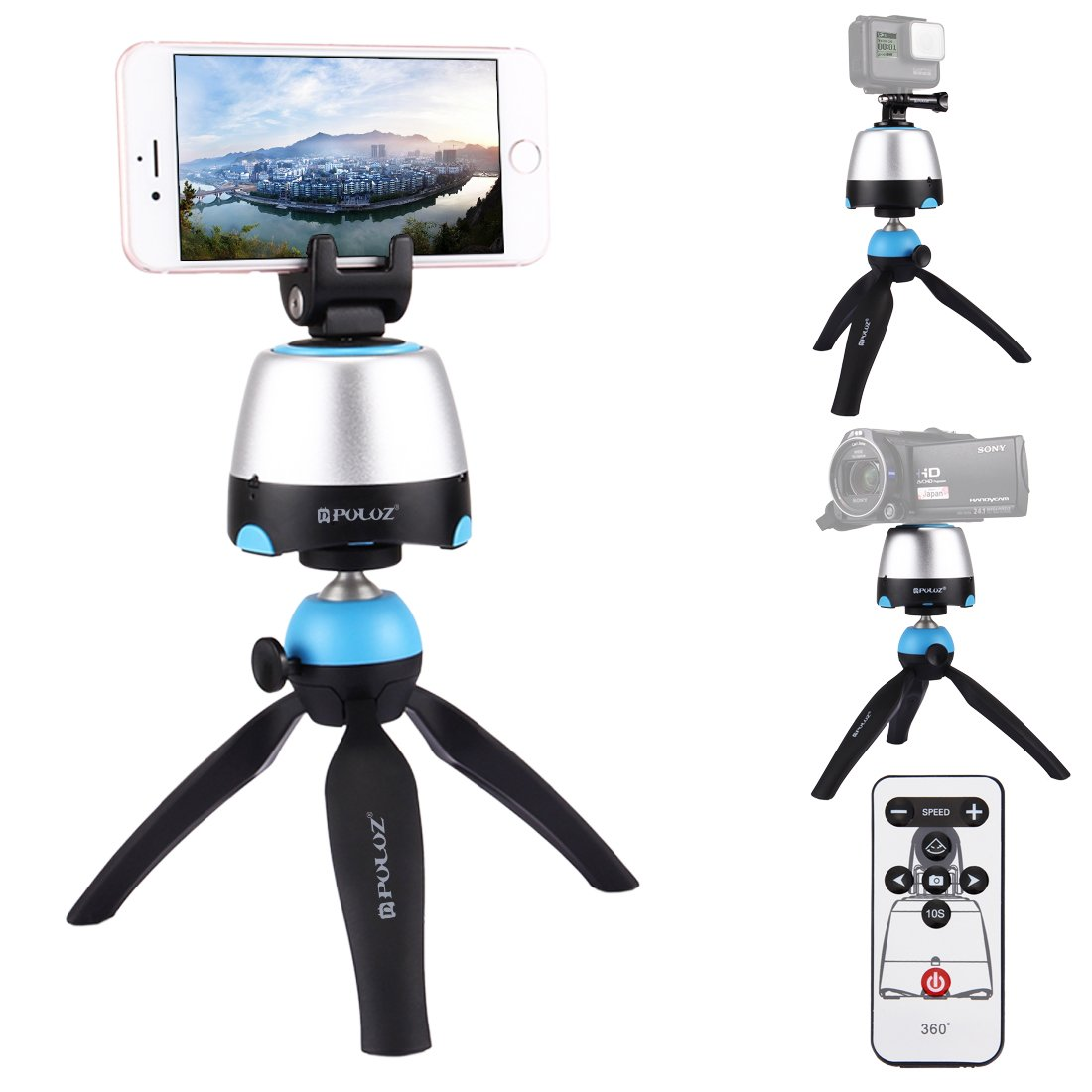 Camera Tripod Kit, PULUZ 360 Degree Rotation Panoramic Selfie Stick Bluetooth Self-timer with Tripod Head + Tripod Stand + Action Camera Mount + Phone Clamp + Remote Control (Tripod Kit Blue)
