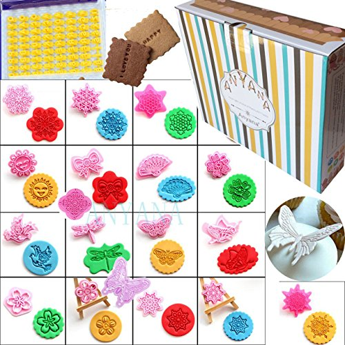 Set of 92 pcs Alphabet Number & Letter Cookie Making Molds Stamps + Set of 18 pcs PVC butterfly dragonfly Cream Chocolate Cake Biscuit Decoration Molds Baking stamper Mould Fondant embosser cutters