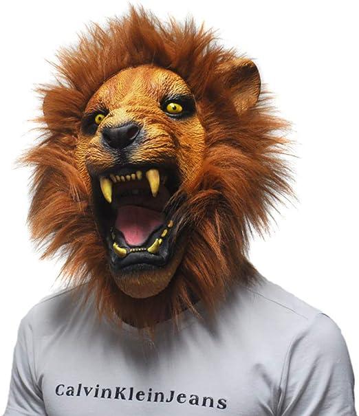 CHEN Máscara De Halloween Angry Lion Head Máscara De Látex Fiesta ...