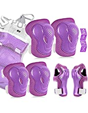 Kids/Youth Protective Gear Set, Kids Knee Pads and Elbow Pads Wrist Guard Protector 6 in 1 Protective Gear Set for Scooter, Skateboard, Bicycle, Inline Skating