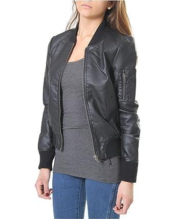 farblich passend am beliebtesten günstige Preise Only Damen Lederjacke Jacke 5034, Schwarz