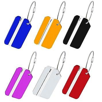 Etiquetas para Maletas BUZIFU 6 Piezas 6 Colores Etiquetas para Equipaje con Cable de Acero para Identificar Las Maletas Cuando Os Vais de Viaje: Amazon.es: ...