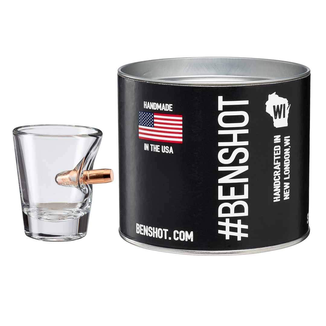 The Original BenShot Shot Glass with Real 0.308 Bullet #Bulletproof MADE in the USA