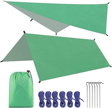 Toldo De Lona Impermeable De 3 M * 3 M Sombra De Toldo De Jardín Ultraligero Sombrilla De Camping Hamaca De Playa Al Aire Libre Refugio De Sol,Verde: Amazon.es: Hogar