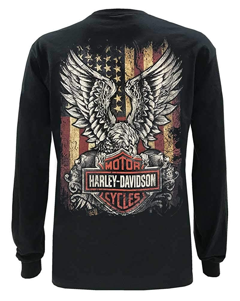 Black Harley-Davidson Mens Custom Freedom Long Sleeve Crew-Neck Shirt