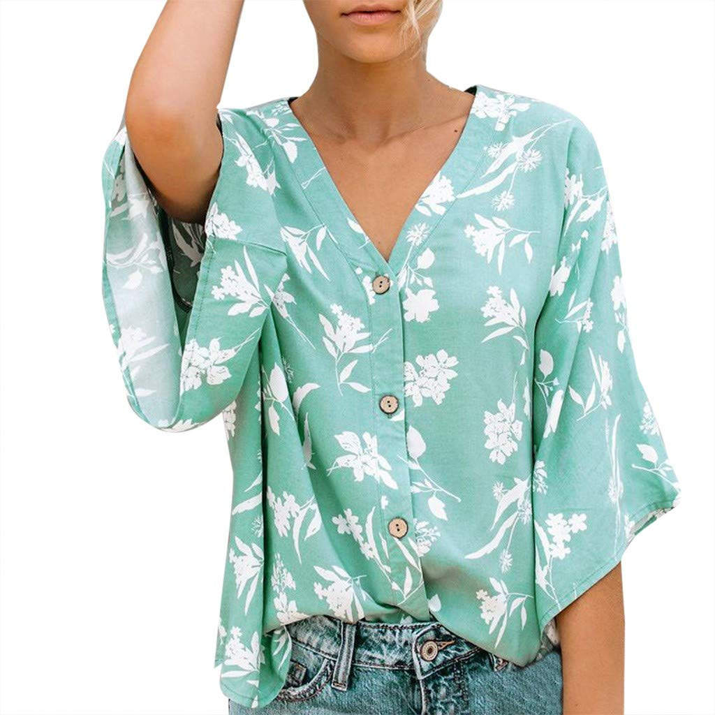 Womens V Neck Short Sleeve Striped Tee Casual Popular Blouse Tops Green by HJuyYuah