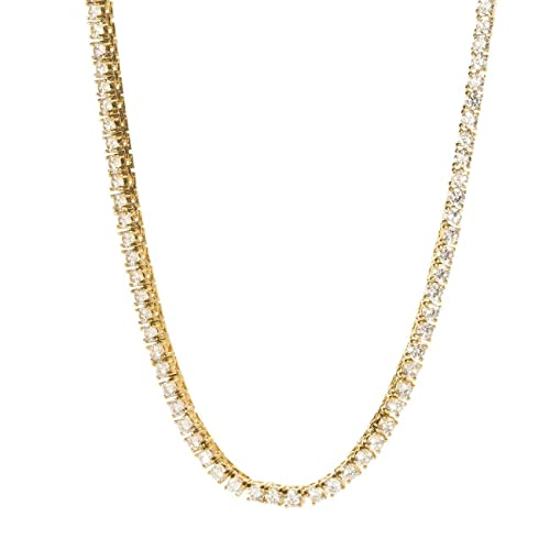 32466f638f031 Bling Bling NY New 1 Row Tennis Necklace 18-30 inch 14k Gold Finish Lab  Created Diamonds 3MM & 4MM Iced Out Solitaires Choker Tennis Chain (14K  Gold ...